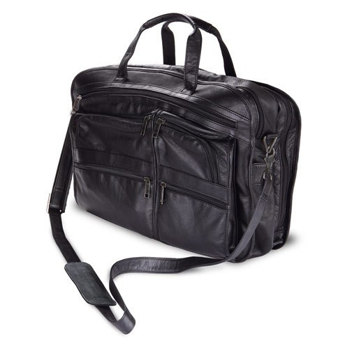 Black Leather Bag with Handles