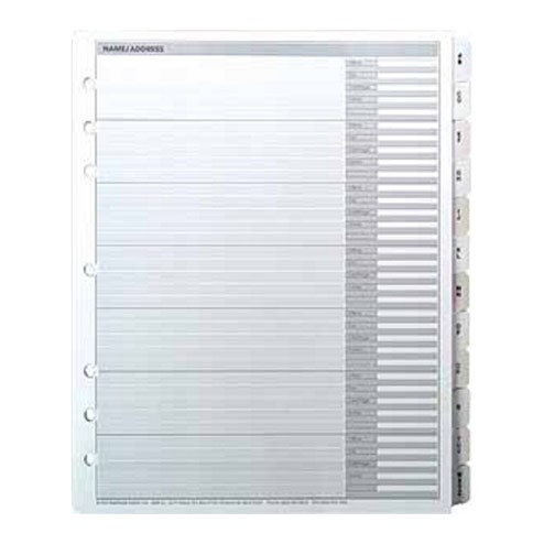 Telephone and Address Directory Tabbed Sheets