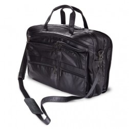 Black Leather Bag w/Dual Handle