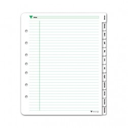 Loose Leaf Monthly Tab Dividers - Green Ink Style - Personal Size
