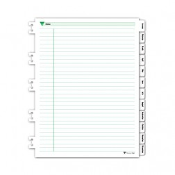Spiral Bound Monthly Tab Dividers - Green Ink Style - Personal Size