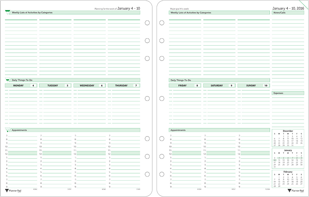 Planner pads loose leaf planners dated loose leaf organizer green ink style executive size maxwellsz