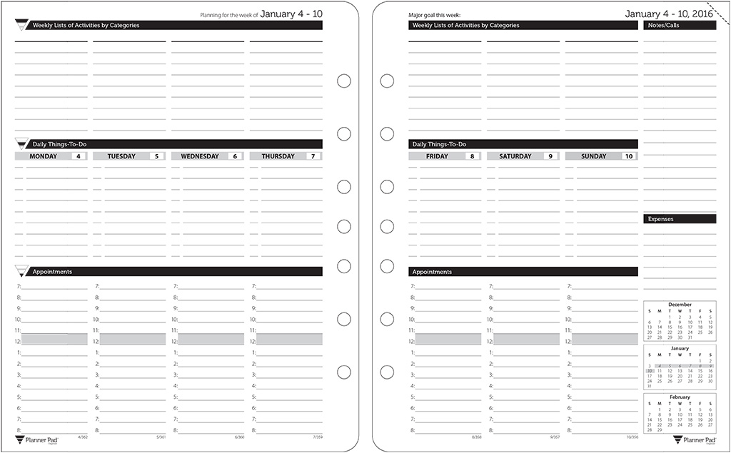 Planner Pads Loose Leaf Organizer Black Ink Style Personal Size – Loose Leaf Template